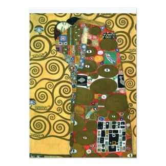 La réalisation (l'étreinte), Klimt, font gagner la Carton D'invitation 12,7 Cm X 17,78 Cm