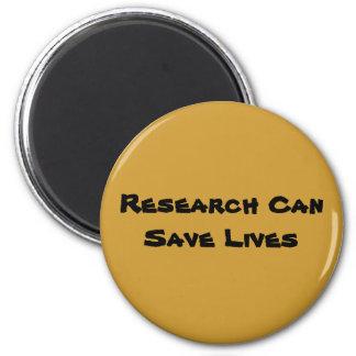 La recherche peut sauver les vies magnet rond 8 cm