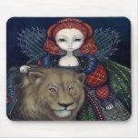 """La """"Reine Elizabeth et un lion"""" Mousepad Tapis De Souris"""