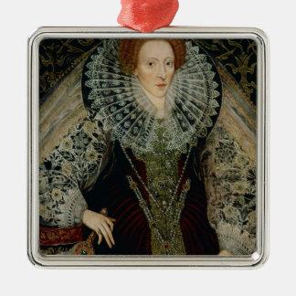 La Reine Elizabeth I, c.1585-90 Ornement Carré Argenté