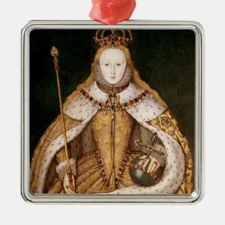La Reine Elizabeth I dans des robes longues de Ornement Carré Argenté