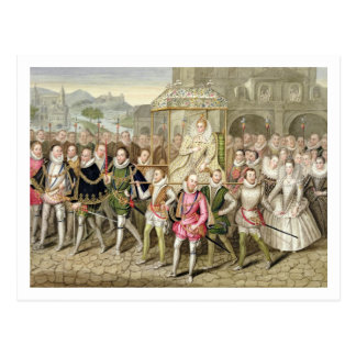 La Reine Elizabeth I dans le cortège avec ses Cartes Postales