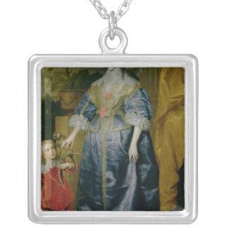 La Reine Henrietta Maria et son nain Pendentif Carré