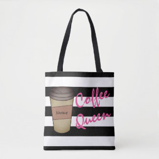 La Reine personnalisée Fourre-tout rayé de café Tote Bag