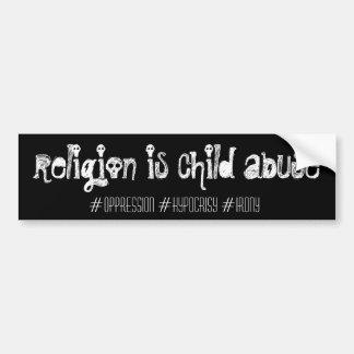 la religion est mauvais traitement à enfant, autocollant de voiture
