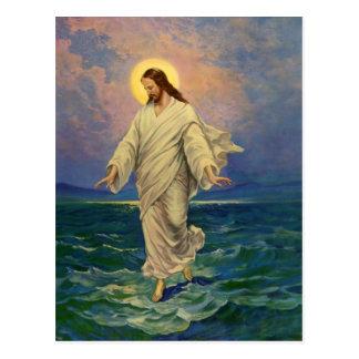 La religion vintage, Jésus-Christ marche sur l'eau Cartes Postales