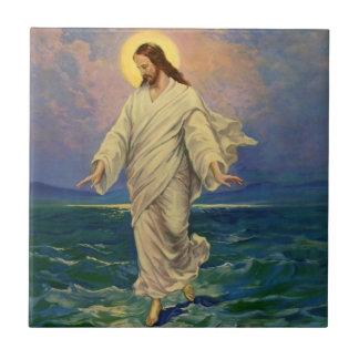 La religion vintage, Jésus-Christ marche sur l'eau Petit Carreau Carré