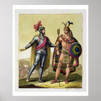 La rencontre entre Hernando Cortes (1485-1547) Poster