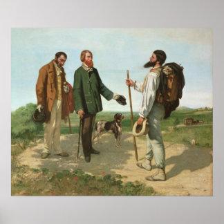 La Rencontre, ou Monsieur Courbet, 1854 de Bonjour Poster