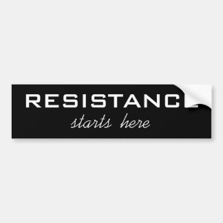 La résistance commence ici, texte blanc audacieux autocollant de voiture