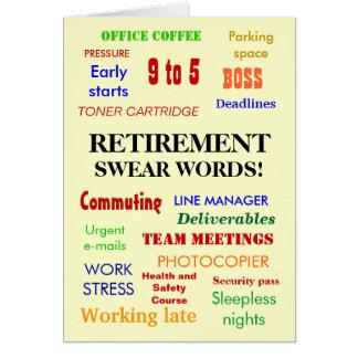 La retraite jurent des mots ! (multicolore) cartes de vœux