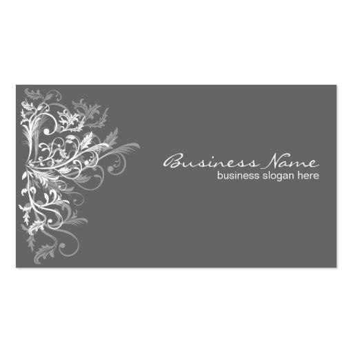 La rétro fleur blanche élégante tourbillonne gris- modèles de cartes de visite