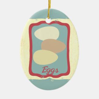 La rétro icône de nourriture de petit déjeuner ornement ovale en céramique