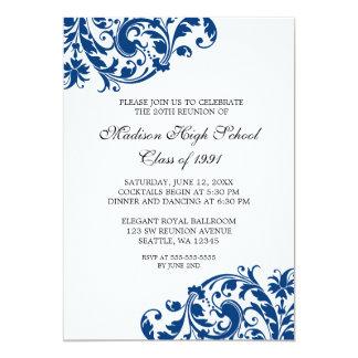La Réunion de classe de Flourish de bleu marine et Carton D'invitation 12,7 Cm X 17,78 Cm