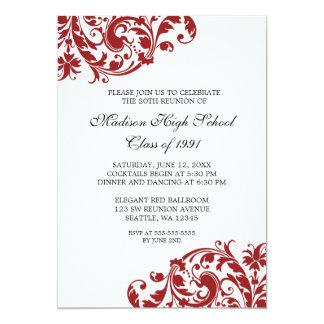 La Réunion de classe de Flourish de rouge et de Carton D'invitation 12,7 Cm X 17,78 Cm