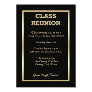 La Réunion de classe de lycée dans le noir Carton D'invitation 12,7 Cm X 17,78 Cm