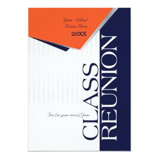 La Réunion de classe orange et bleue Carton D'invitation 12,7 Cm X 17,78 Cm