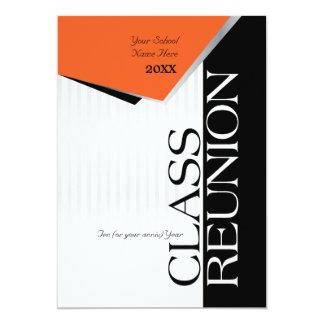 La Réunion de classe orange et noire Carton D'invitation 12,7 Cm X 17,78 Cm