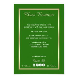 La Réunion de classe tout vert d'année Carton D'invitation 12,7 Cm X 17,78 Cm