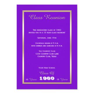 La Réunion de classe votre pourpre et or d'année Carton D'invitation 12,7 Cm X 17,78 Cm