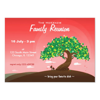 La Réunion de famille (rouge) Carton D'invitation 12,7 Cm X 17,78 Cm