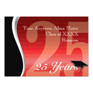 La Réunion personnalisable de classe de 25 ans Carton D'invitation 12,7 Cm X 17,78 Cm