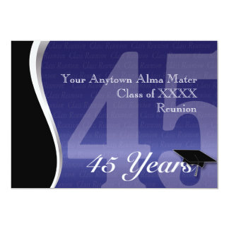 La Réunion personnalisable de classe de 45 ans Carton D'invitation 12,7 Cm X 17,78 Cm