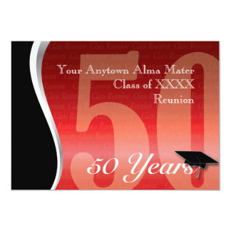 La Réunion personnalisable de classe de 50 ans Carton D'invitation 12,7 Cm X 17,78 Cm