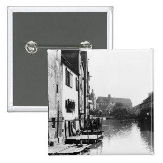 La rivière Gera à Erfurt, Thiringia, c.1910 Badge