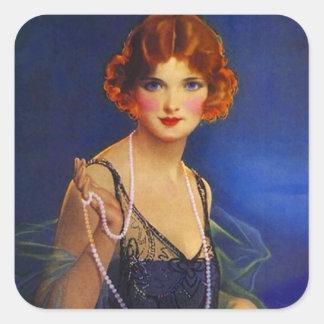 La robe à la mode d'aileron d'autocollant perle la sticker carré