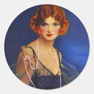 La robe à la mode d'aileron d'autocollant perle la sticker rond