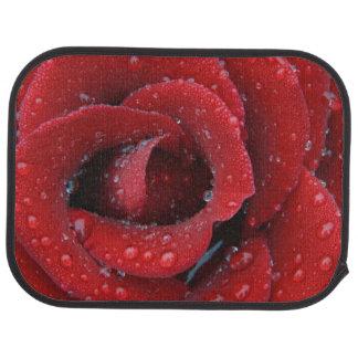 La rosée a couvert le rose rouge décorant le site tapis de voiture