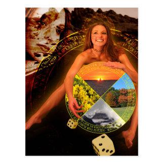 La roue de l'art de carte de tarot de fortune cartes postales