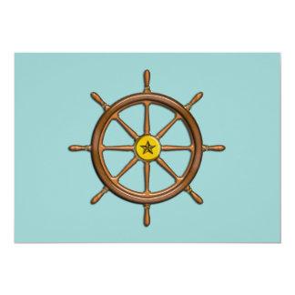 La roue du bateau en bois carton d'invitation  12,7 cm x 17,78 cm