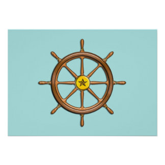 La roue du bateau en bois faire-parts