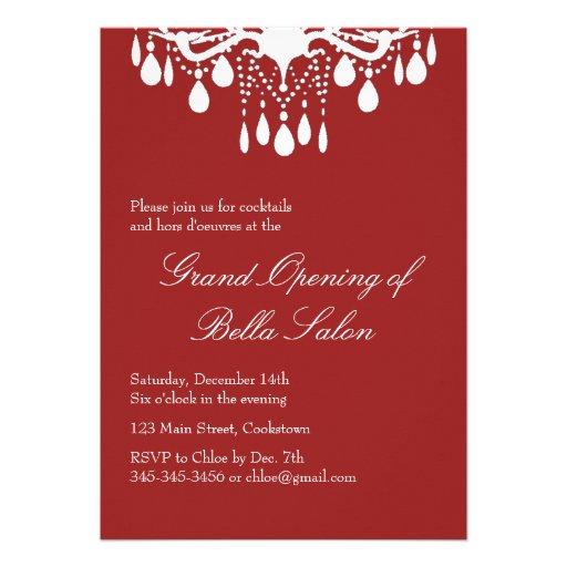 La salle de bal grande d'ouverture officielle roug carton d'invitation