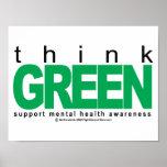 La santé mentale pense le vert posters