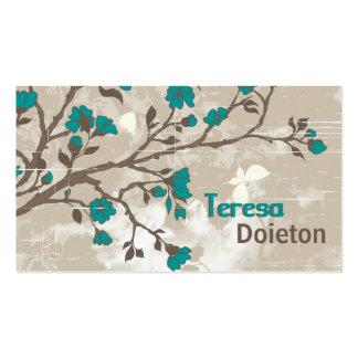 La sarcelle d'hiver vintage fleurit le taupe grung modèles de cartes de visite