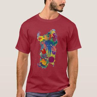La Sardaigne, carte de peinture d'éclaboussure T-shirt