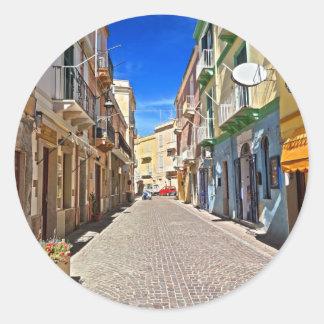 La Sardaigne - rue principale dans Carloforte Sticker Rond