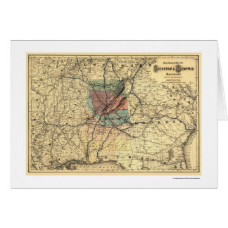 La savane et carte 1872 de chemin de fer de