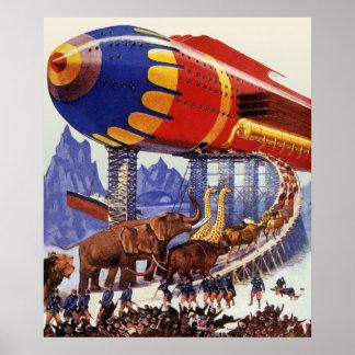 La science-fiction vintage, animaux sauvages de posters