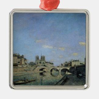 La Seine et Notre Dame à Paris, 1864 Ornement Carré Argenté