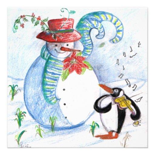 La SÉRÉNADE du PINGOUIN, noir blanc bleu rouge Faire-part Personnalisables