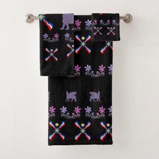 La serviette assyrienne a placé 6 le drapeau