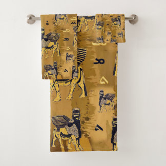 La serviette assyrienne d'alphabet et de lamassu a