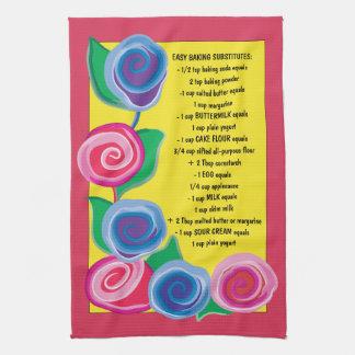 """La serviette de cuisine """"fleurs avec la cuisson"""