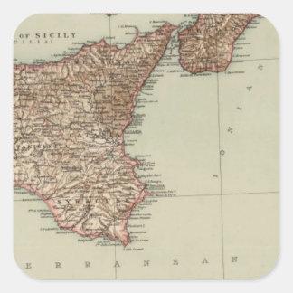 La Sicile, Sardaigne Sticker Carré