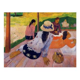 La sièste - carte postale de Paul Gauguin
