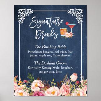 La signature boit le mariage floral de bleu marine poster